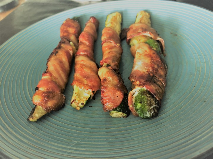 Keto Bacon Wrapped Zucchini Skewers